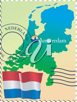 Vector stamp with an image of map of Nepal