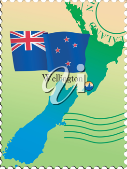 Vector stamp with an image of map of New Zealand