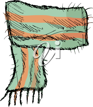 hand drawn, vector, sketch illustration of scarf