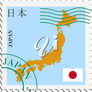 Image of stamp with map and flag of Japan