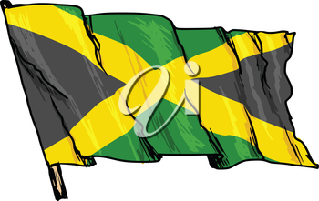 hand drawn, sketch, illustration of flag of Jamaica