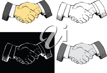 Editable vector illustrations in variations. Handshake