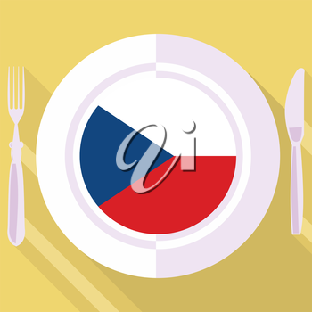 plate in flat style with flag of Czech Republic