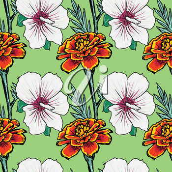 sample of seamless background with flowers