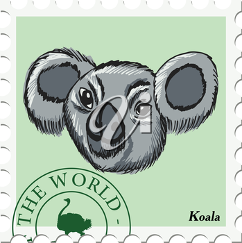 vector, post stamp with koala