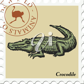 vector, post stamp with crocodile