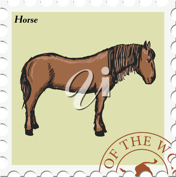 vector, post stamp with horse