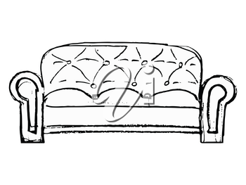 Hand drawn, vector illustration of  couch. Motives of relaxing, interior, furniture