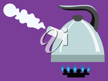 Boiling kettle on gas burner. Kitchen, tea, coffee and preparing food and drinks concepts. Home, cafe and restaurant objects. Vector illustration