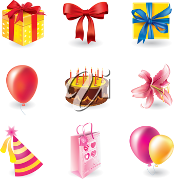 Royalty Free Clipart Image of a Set of Holiday Objects