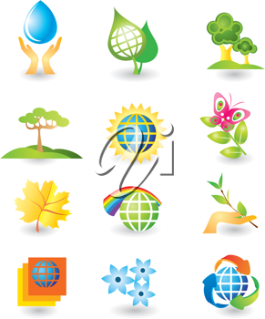 Royalty Free Clipart Image of Nature Icons