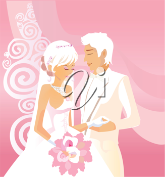 Royalty Free Clipart Image of a Wedding Illustration