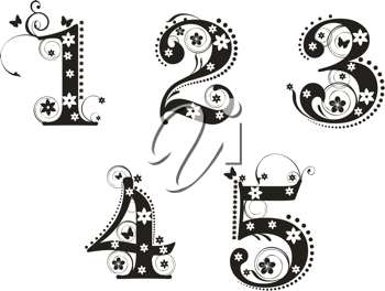 Royalty Free Clipart Image of Decorative Numbers