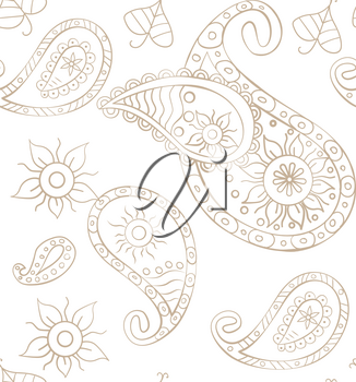Vector seamless paisley background for design