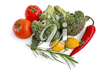 Two branches of broccoli, red peppers, red and yellow tomatoes, a sprig of tarragon isolated on a white background