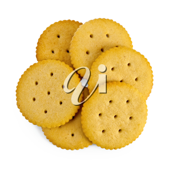 Several cracker cookies isolated on white background