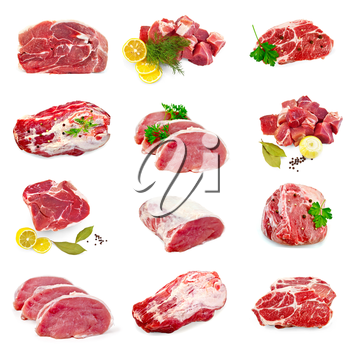 Collection of images of pork, spices, parsley, dill, lemon isolated on a white background