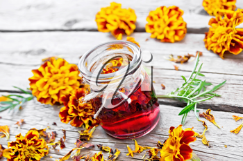 Alcohol tincture of marigolds in a glass jar, fresh and dried flowers with green leaves on background of an old wooden board