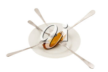 Royalty Free Photo of a Sausage on a Plate With Forks in It