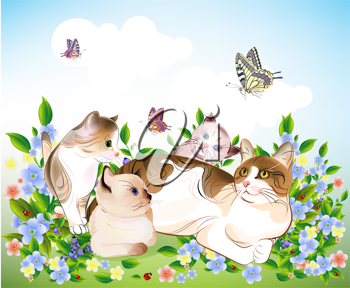 Royalty Free Clipart Image of Cats in a Meadow