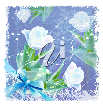 Royalty Free Clipart Image of a Greeting Card of Tulips