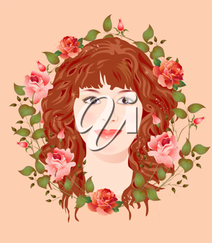 Royalty Free Clipart Image of a Woman in a Floral Frame