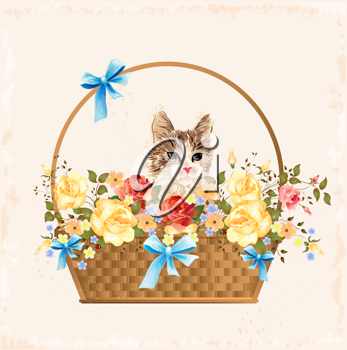 Royalty Free Clipart Image of a Cat in a Basket