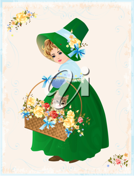 Royalty Free Clipart Image of a Girl Carrying a Basket With a Cat