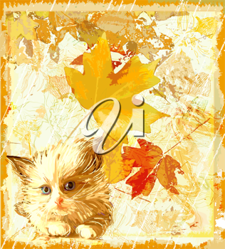 Royalty Free Clipart Image of a Cat and Leaf Background