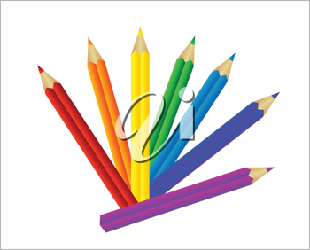 Royalty Free Clipart Image of Pencil Crayons