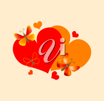 Royalty Free Clipart Image of a Heart With Butterflies