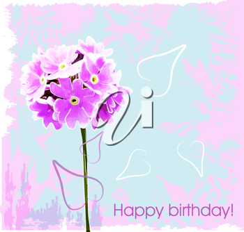 Royalty Free Clipart Image of a Floral Birthday Card
