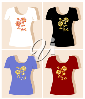 t-shirt design  with  rose