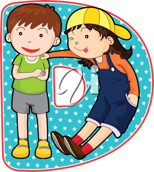 Royalty Free Clipart Image of a Boy and a Girl Forming a D