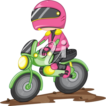 Royalty Free Clipart Image of a Female Bike Rider