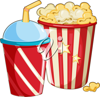 Royalty Free Clipart Image of Popcorn and a Plastic Cup With a Straw