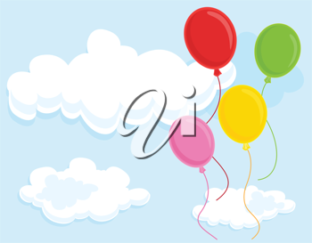 Royalty Free Clipart Image of Four Floating Balloons