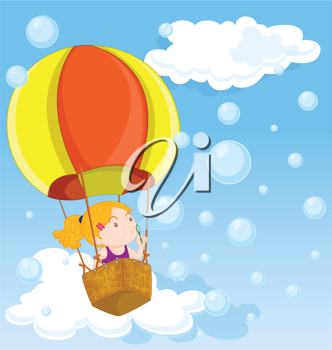 Royalty Free Clipart Image of a Child in a Hot Air Balloon