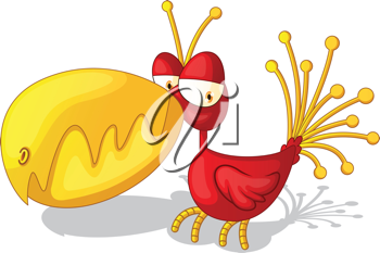 Royalty Free Clipart Image of a Strange Bird