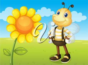 illustration of a bee and a flower