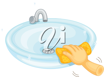 Illustration of cleaning a basin