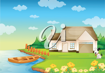 illustration of a house on the bank of river
