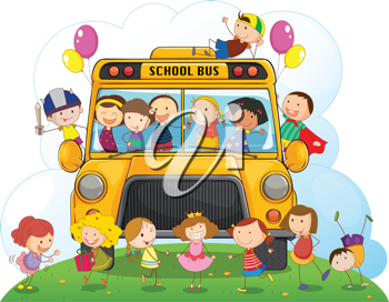 illustration of kids with school bus on a white background