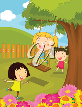 Illustration of kids playing in the park