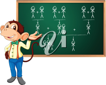Illustration of a monkey presenting