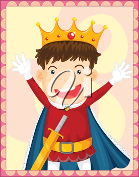 Illustration of young king in a frame