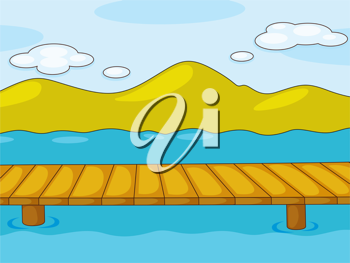 Illustration of an empty pier by the lake