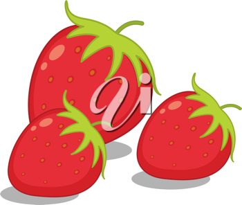 Illustration of three strawberries on white