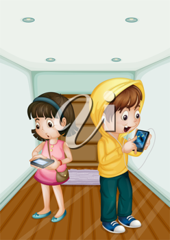 Illustration of kids using mobile technology