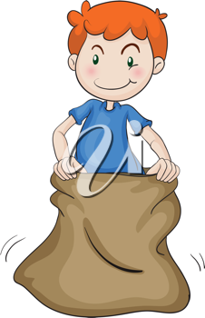 illustration of a boy and burlap on a white background